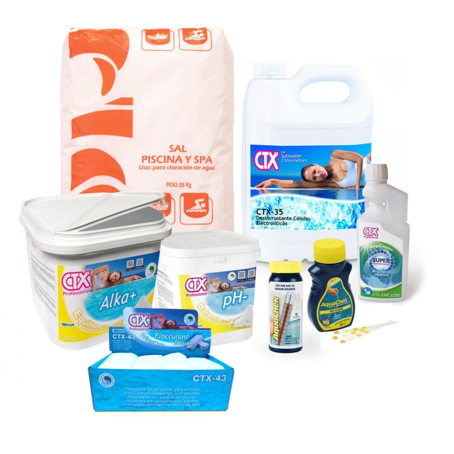 PACK INICIO DE TEMPORADA para piscinas cloradas con clorador salino (8 artículos)